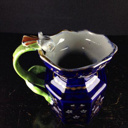 Masons Ironstone jug, blue ground with hydra handle, c. 1820. -4355