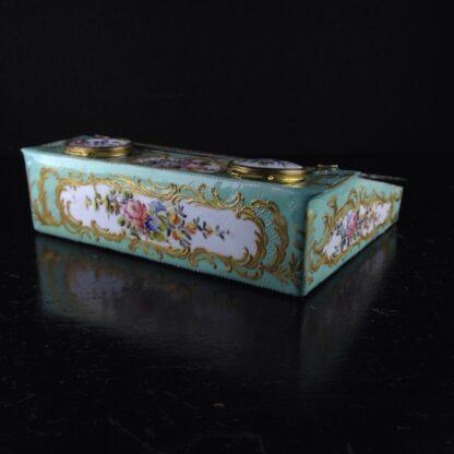 English enamel writing slope writing box, circa 1780 -4363