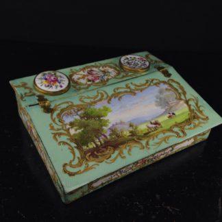 English enamel writing slope writing box, circa 1780 -0