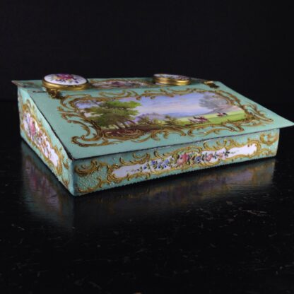 English enamel writing slope writing box, circa 1780 -4367