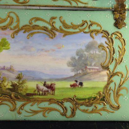 English enamel writing slope writing box, circa 1780 -4369