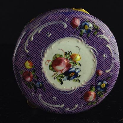 English enamel snuff box, gingham ground with flower panels, c.1780 -4402