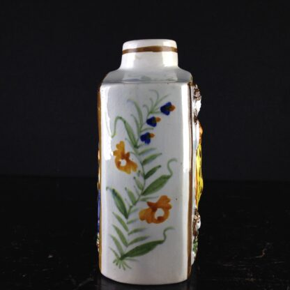 English Pratt type tea canister, moulded with with Britannia & lion in relief, c.1790. -4425