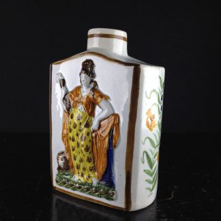 English Pratt type tea canister, moulded with with Britannia & lion in relief, c.1790. -0