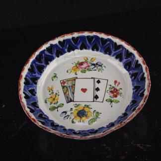English enamel card tray, with cards & flowers, pierced blue rim, c.1770 -0