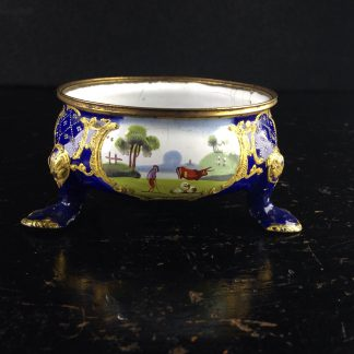 English enamel salt, pastoral scenes, C. 1780 -0