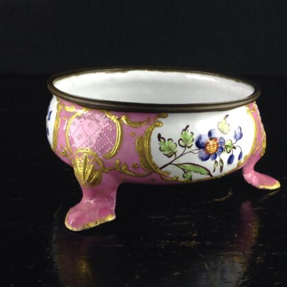 English enamel salt, pink ground with flowers, C. 1780 -4459