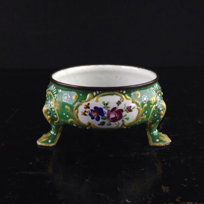 English enamel salt, green ground with flowers, c.1770 -4464