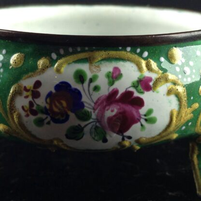 English enamel salt, green ground with flowers, c.1770 -4471