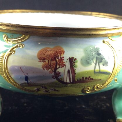 English enamel salt, green ground with landscapes, c.1770 -4480