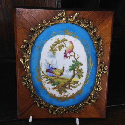 Sevres style pair of plaques, in ormolu frames on king wood, 19th century-4588