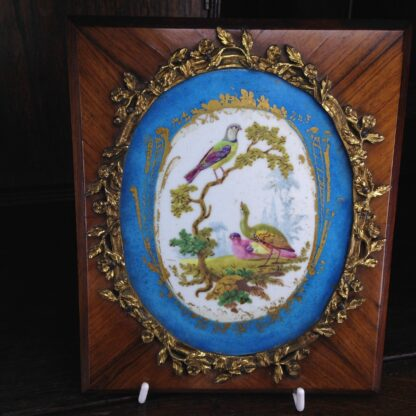 Sevres style pair of plaques, in ormolu frames on king wood, 19th century-4589