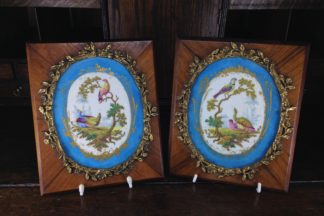 Sevres style pair of plaques, in ormolu frames on king wood, 19th century-0