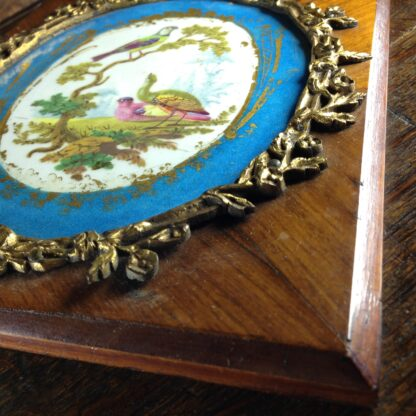Sevres style pair of plaques, in ormolu frames on king wood, 19th century-4594