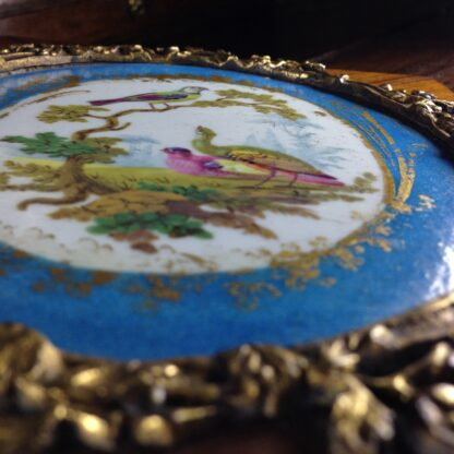 Sevres style pair of plaques, in ormolu frames on king wood, 19th century-4597