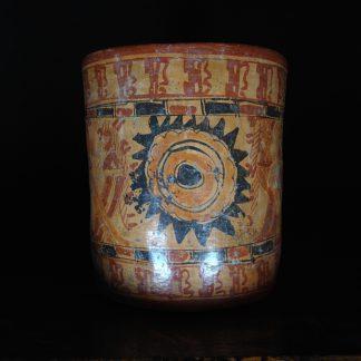 Mayan cylinder beaker, Hero Twins, c.800AD -0