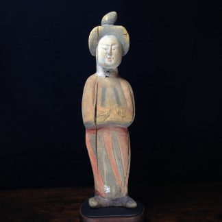 Tang dynasty figure of a lady, wood with pigments, 8th century AD -0