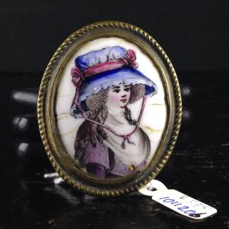 English enamel curtain tie, portrait, Circa 1780-0