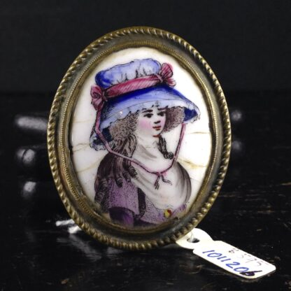 English enamel curtain tie, portrait, Circa 1780-0