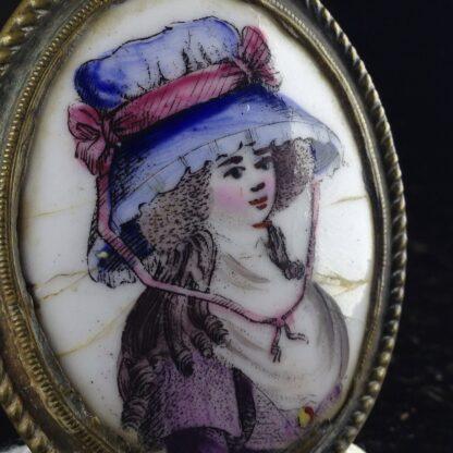 English enamel curtain tie, portrait, Circa 1780-4856