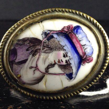 English enamel curtain tie, portrait, Circa 1780-4857