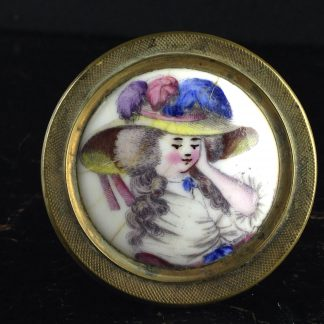 English enamel curtain tie, portrait, Circa 1780. -0