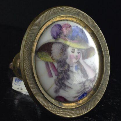 English enamel curtain tie, portrait, Circa 1780. -4872