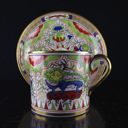 Chamberlains Worcester coffee can & saucer Dragons in Compartment, c.1800-5138