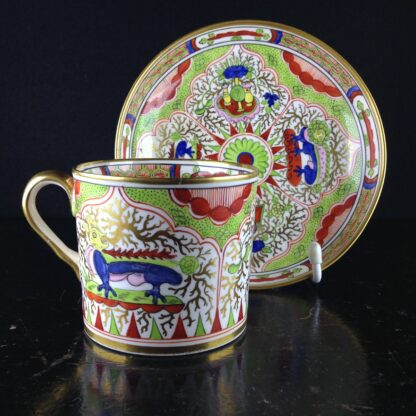 Chamberlains Worcester coffee can & saucer Dragons in Compartment, c.1800-0