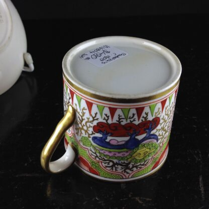 Chamberlains Worcester coffee can & saucer Dragons in Compartment, c.1800-5143
