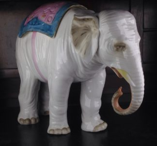 Large French porcelain elephant with colourful cover, C. 1895 -0
