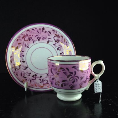 English lustre cup & saucer, c.1840. -0