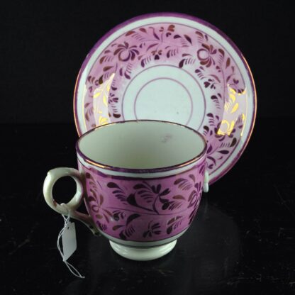 English lustre cup & saucer, c.1840. -6256