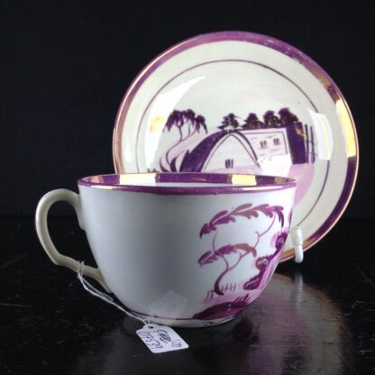 English purple lustre cup & saucer, houses, c.1820 -6257