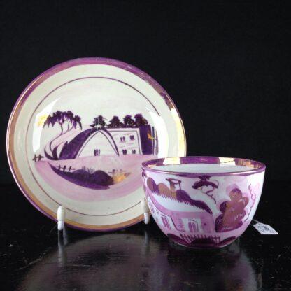 English purple lustre cup & saucer, houses, c.1820 -0