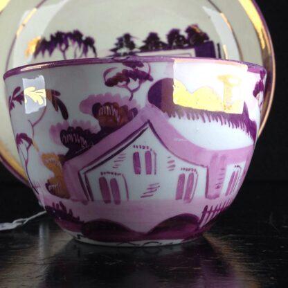English purple lustre cup & saucer, houses, c.1820 -6260