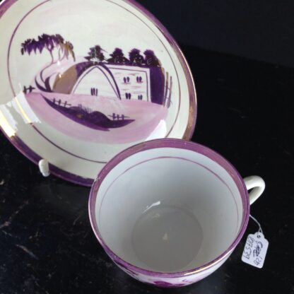 English purple lustre cup & saucer, houses, c.1820 -6261