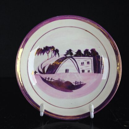 English purple lustre cup & saucer, houses, c.1820 -6262