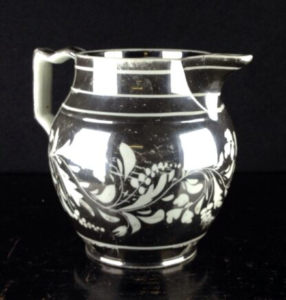 English silver lustre jug, scrolling foliage, c.1815-0