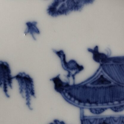 Chinese Export blue & white saucer with fine painting, C. 1760. -6275