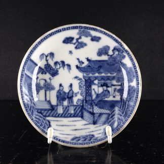 Chinese Export blue & white saucer with fine painting, C. 1760. -0