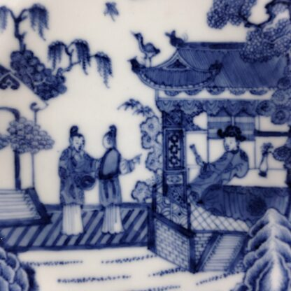 Chinese Export blue & white saucer with fine painting, C. 1760. -6280