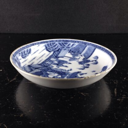 Chinese Export blue & white saucer with fine painting, C. 1760. -6281