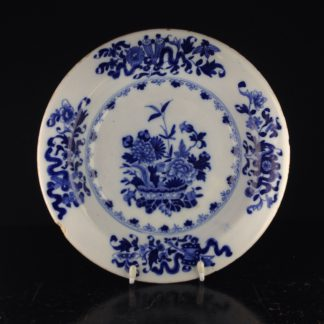 Liverpool delft plate, bowl of flowers, c.1760 -0
