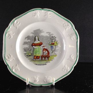Staffordshire child's plate, girl with cat, titled THE FAVORITE c. 1830 -0