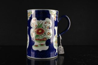 Worcester tankard, blue scale with Kakiemon style flowers, c.1765 -0