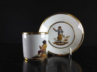 Paris Porcelain coffee cup & saucer, peasant scene after Tenniers, c.1810 -0