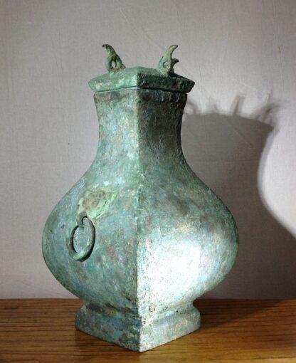 Bronze Fang Hu vase, Han dynasty , 206 BC - 221 AD -8850