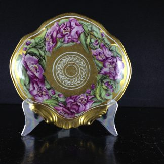Coalport shell shape dish with flowers by Baxter, gilt ground, c.1810-0