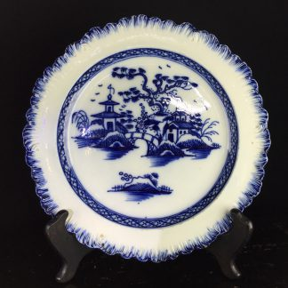 Liverpool pearlware plate with Chinoiserie in blue, C. 1780. -0
